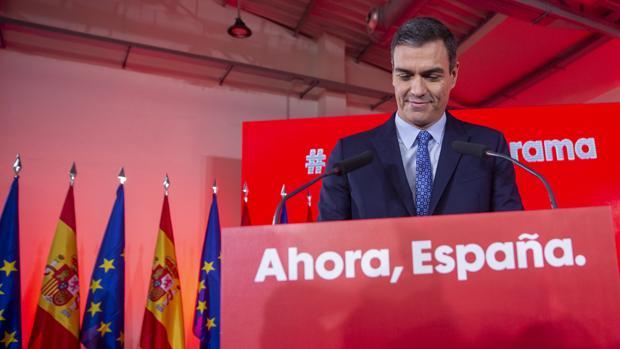 El presidente del Gobierno en funciones, Pedro Sánchez, este lunes en un acto del PSOE