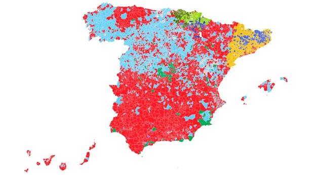 El mapa de los resultados de las elecciones generales, municipio a municipio