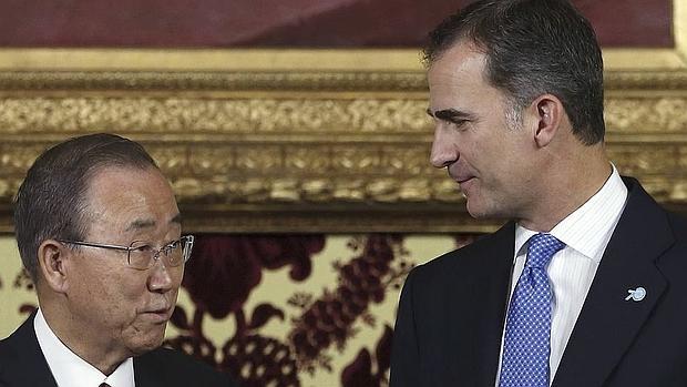 El Rey ha recibido al secretario general de la ONU, Ban Ki-moon, en el Palacio Real