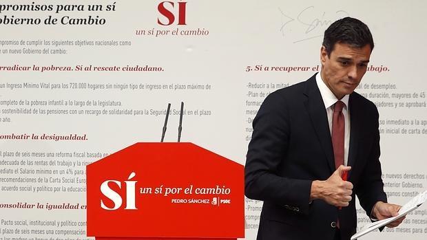 Pedro Sánchez en la presentación de su programa para las elecciones generales del próximo mes de junio