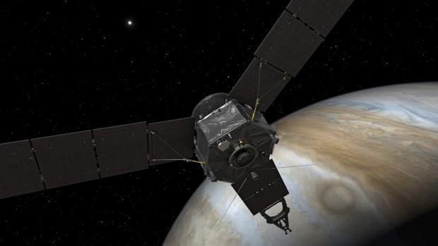 Juno, en la órbita de Júpiter, en una imagen facilitada por la NASA