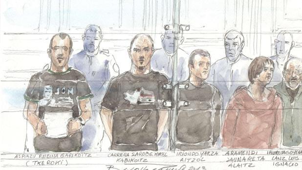 Dibujo del banquillo de los acusados de un juicio de 2013, en el que, entre otros, se sientan Mikel Carrera «Ata» o Garikoitz Azpiazu «Txeroki»