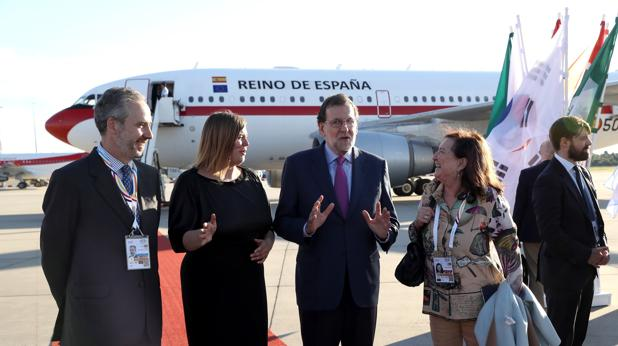 Mariano Rajoy, a su llegada al aeropuerto de Hamburgo