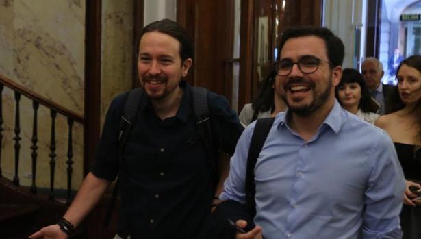 Pablo Iglesias y Alberto Garzón en el Congreso de los Diputados