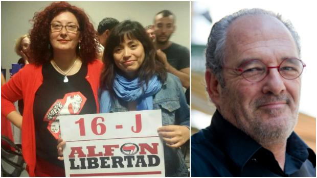 A la izquierda, la madre de «Alfon», Elena Ortega, junto a Rommy Arce; a la derecha, el actor Carlos Olalla