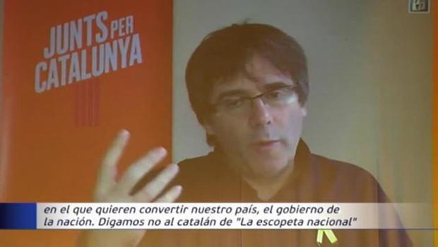 Puigdemont interviene por videoconferencia en un acto de Junts Per Catalunya