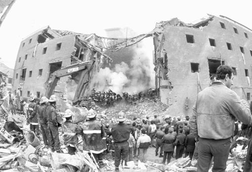 Estado en que quedó la casa-cuartel tras la explosión