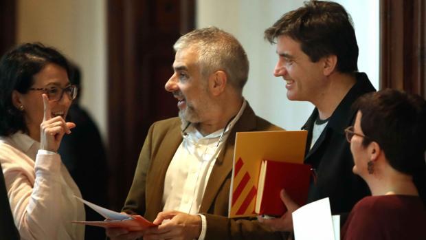 Diputados de Ciudadanos, el PSC, ERC y Catalunya en Comú esta semana en el Parlament