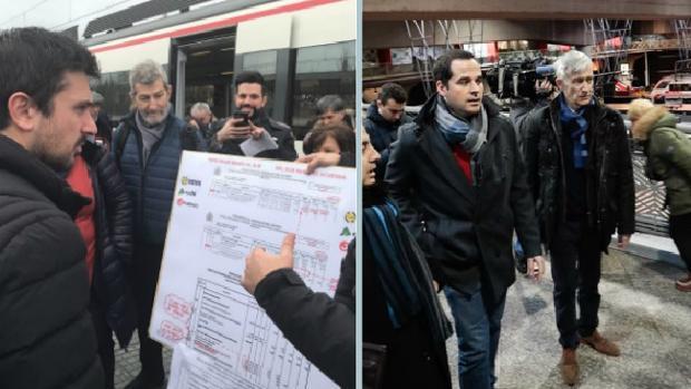 Izq., Ramón Espinar y Julio Rodríguez, exJEMAD, en la estación de Cercanías de Pinto. Dcha, Ignacio Aguado con Juan Rubio en Atocha, a punto de tomar el Cercanías