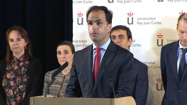 El rector de la URJC, Javier Ramos, durante su comparecencia sobre el escándalo del máster de Cifuentes