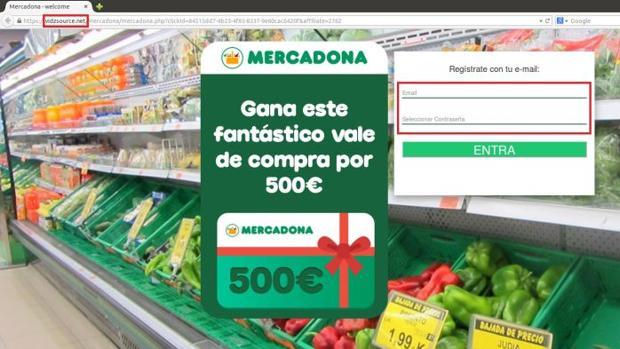 Imagen de la nueva estafa que emplea el nombre de Mercadona de forma fraudulenta