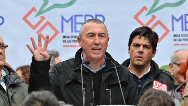 Joan Baldoví, en una manifestación reciente por la subida de las pensiones