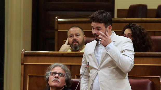 El portavoz parlamentario de ERC Gabriel Rufián durante su pregunta a Pedro Sánchez en el Congreso