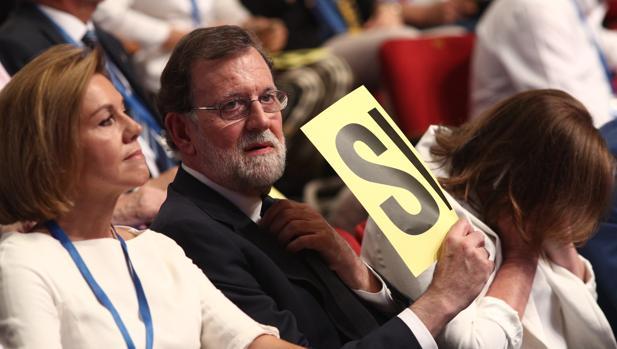 Mariano Rajoy, ayer, en el Congreso del PP