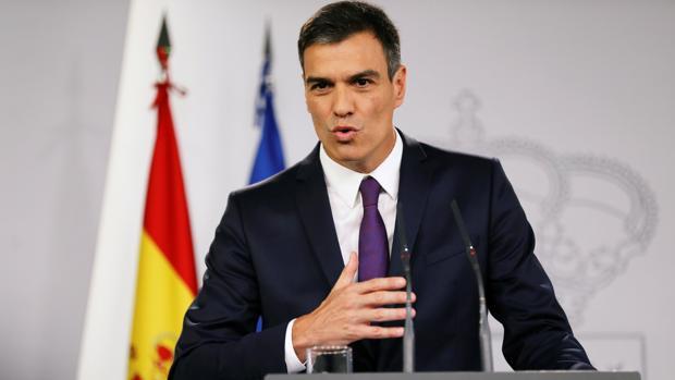 El presidente del Gobierno, Pedro Sánchez, durante la rueda de prensa de hoy