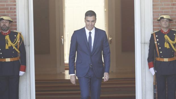 Pedro Sánchez en La Moncloa antes de recibir a la primera ministra rumana, Viorica Dancila