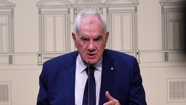 Ernest Maragall durante su rueda de prensa en la reunión bilateral entre Estado y Generalitat