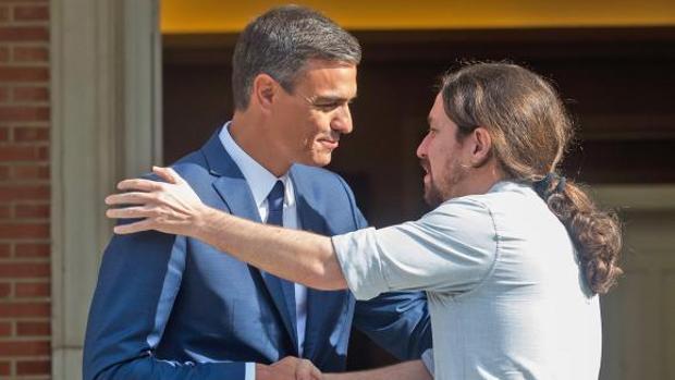 Reunión en La Moncloa entre el presidente del Gobierno Pedro Sánchez y el secretario general de Podemos el pasado jueves