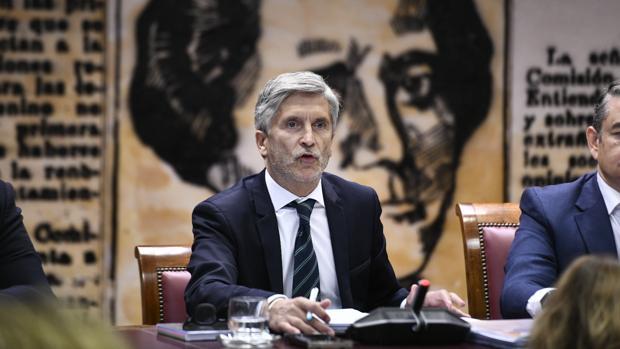 El ministro del Interior, Fernando Grande-Marlaska, durante su comparecencia en el Senado ayer