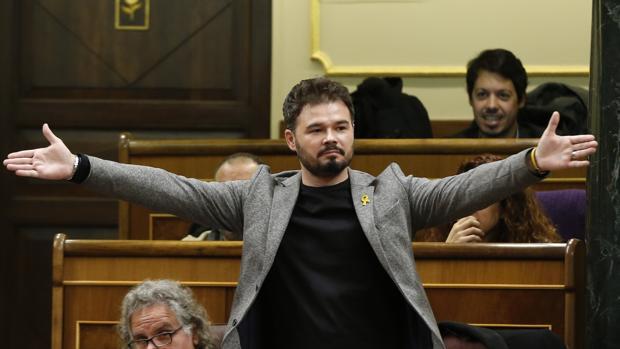 El diputado de ERC. Gabriel Rufián, en el Congereso el día que insultó a Borrell