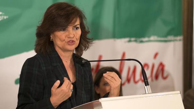La ministra Carmen Calvo, este martes en la campaña de las andaluzas
