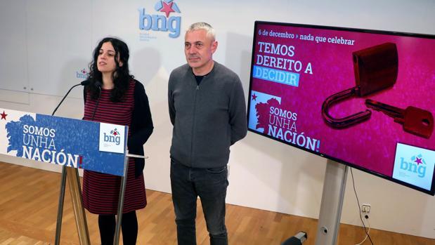 Presas y Lobeira, en la presentación de la campaña del BNG contra la Constitución