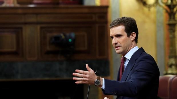 El líder popular, Pablo Casado, en una intervención en el Congreso de los Diputados
