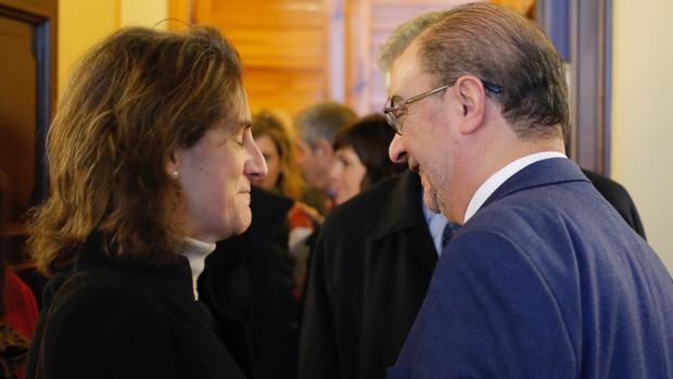Teresa Ribera y Javier Lambán se reunieron este lunes en Zaragoza