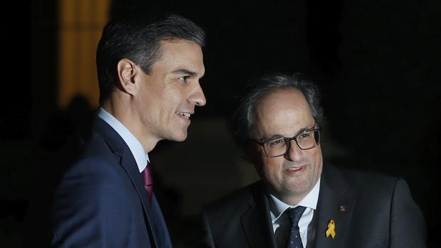 Pedro Sánchez y Quim Torra en un encuentro mantenido en Barcelona en diciembre