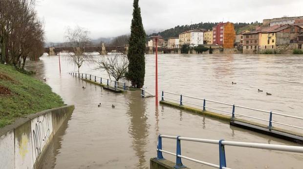 Imagen de la crecida en Miranda de Ebro