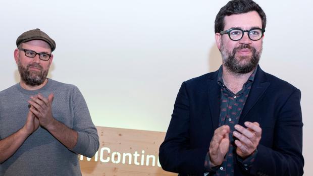 Antoni Noguera, en primer plano, junto al alcalde de Santiago de Compostela Martiño Noriega el pasado 8 de febrero en Palma