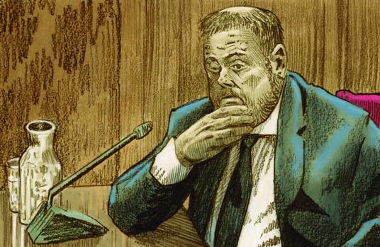 El antiguo vicepresidente de la Generalitat Oriol Junqueras, dibujado por José María Nieto durante su declaración como principal acusado en el juicio al «procés»