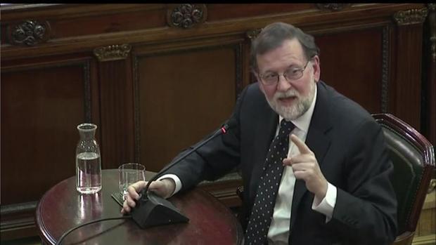 El expresidente del Gobierno Mariano Rajoy, el miércoles, en el juicio del «procés»