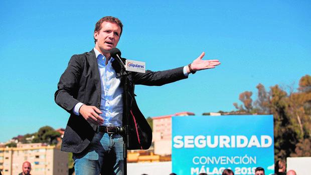 El presidente del PP, Pablo Casado, en Málaga