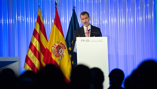 El Rey, en la entrega de premios de la Fundación Princesa de Girona, en Gerona el pasado junio