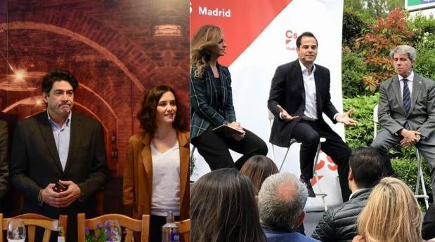 Isabel Díaz Ayuso con su equipo (izq.) y Aguado con Garrido (dcha)