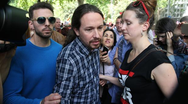 Pablo Iglesias, en la manifestación del 1 de mayo en Madrid