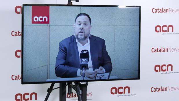 Oriol Junqueras, en una rueda de prensa desde Soto del Real (Madrid)