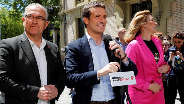El presidente del PP, Pablo Casado, en un acto de campaña ayer en Pamplona
