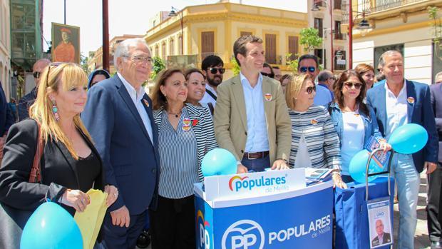 Pablo Casado, líder del PP, ayer durante un acto electoral en Melilla