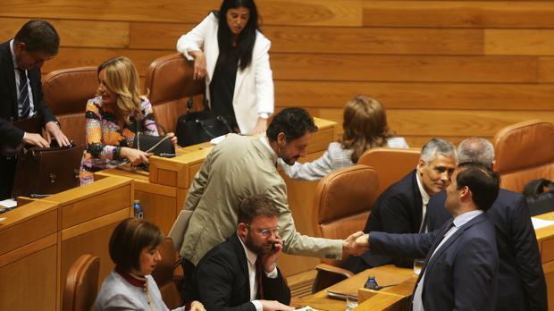 Diputados del PPdeG este martes en el Pleno de la Cámara autonómica