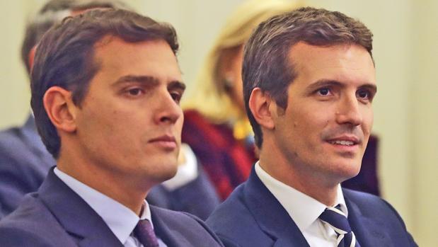 Albert Rivera, presidente de Ciudadanos, y Pablo Casado, presidente del PP