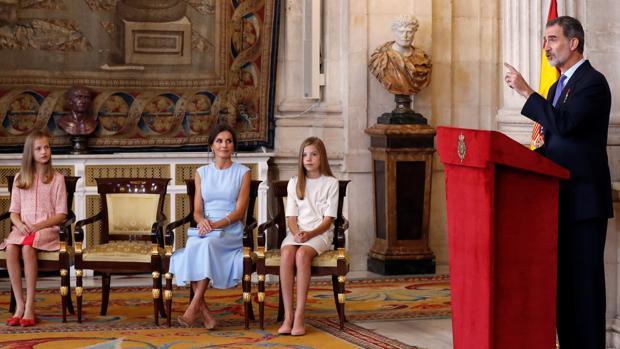 El Rey, durante su intervención en el acto de imposición de condecoraciones a ciudadanos