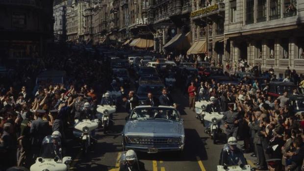 Visita de Neil Armstrong, Michael Collins y Buzz Aldrin a Madrid, a su paso por la Gran Vía, en octubre de 1969