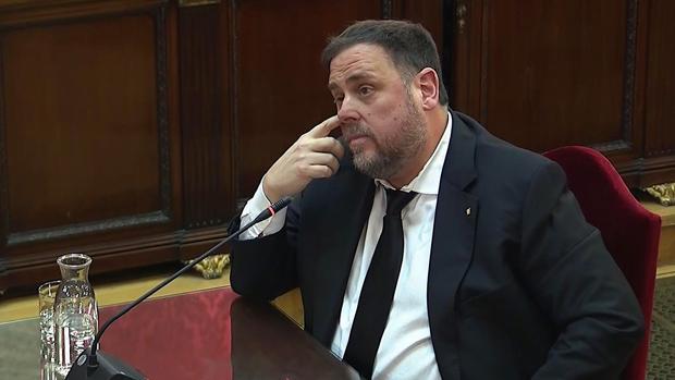 El exvicepresidente de la Generalitat Oriol Junqueras, durante el juicio del «procés»