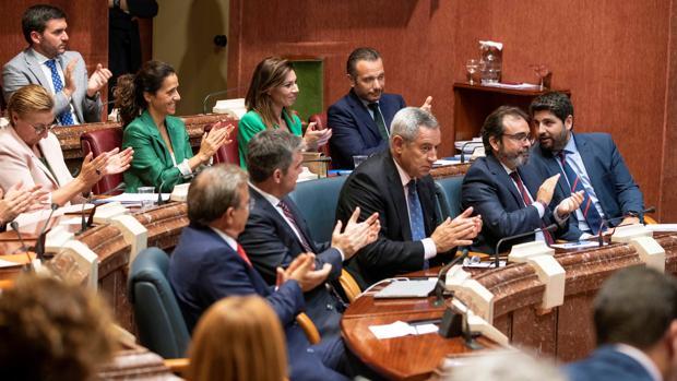 Segunda sesión del pleno de su investidura en el parlamento murciano en Cartagena