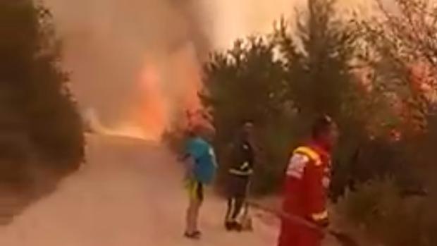 Las llamas han comenzado cerca de un camino en Trescasas (Segovia)