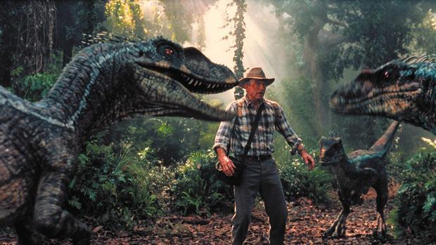 Sam Neill, en un fotograma de «Parque Jurásico»
