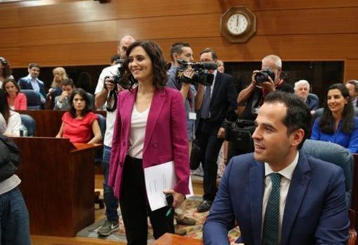 Isabel Díaz Ayuso, Ignacio Aguado y Rocío Monasterio, en la Asamblea de Madrid