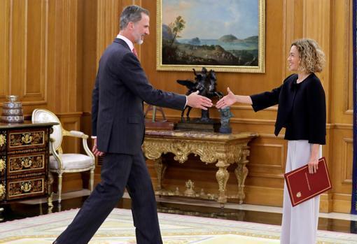 Don Felipe y la presidenta del Congreso, el pasado 3 de junio en el Palacio de La Zarzuela